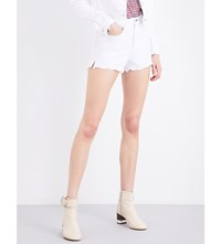 Rag And Bone Justine Frayed Hem Embroidered Denim Shorts White Embroidered