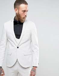 Noose And Monkey Super Skinny Suit Jacket With Double Piping Gray