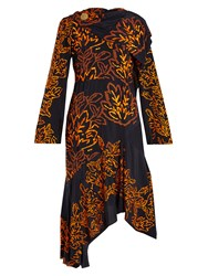 Peter Pilotto Floral Embroidered Silk Crepe Dress Navy Multi
