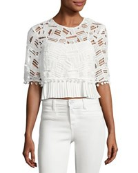 French Connection Freddy Lace Short Sleeve Crop Top White