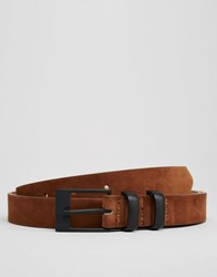 Asos Smart Skinny Belt With Keepers Brown