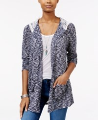 American Rag Open Front Hooded Cardigan Only At Macy's New Indigo Combo