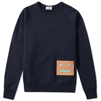 Acne Studios Large Face Crew Sweat Blue