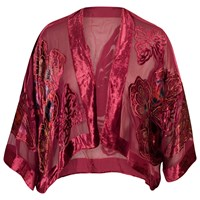 Chesca Butterfly Printed Silk Velvet Jacket Burgundy