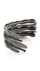 Marc Jacobs Dark Plumes Statement Cuff Bracelet Jet Antique Silver