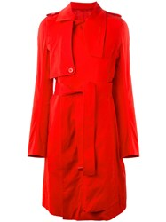 Rick Owens Trench Coat Red