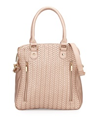 Neiman Marcus Woven Faux Leather Satchel Bag Rose Gold