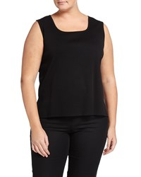 Ming Wang Plus Boat Neck Basic Knit Tank Black