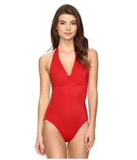 Norma Kamali Underwire Halter Mio Red Women's Swimsuits One Piece