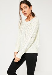 Missguided White Chunky Cable Knit Jumper Ivory