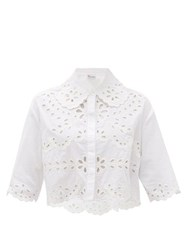 Red Valentino Redvalentino Brogerie Anglaise Cropped Cotton Blouse White