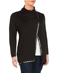 Chelsea And Theodore Plus Asymmetric Front Wrap Cardigan Black