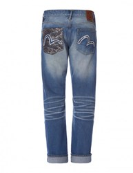 Evisu Regular Fit Denim With Jacquard Pocket And Seagull Embroidery