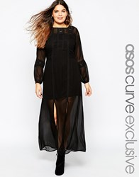 Asos Curve Boho Maxi Dress With Crochet Lace Inserts Black