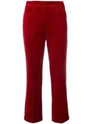 Cambio Cropped Straight Leg Trousers Red