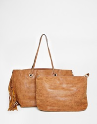 Aldo Faux Suede Tote With Side Fringe Detail Tan