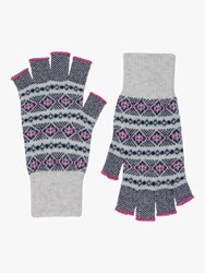 Brora Cashmere Fair Isle Fingerless Gloves Pearl