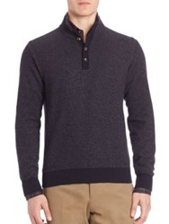 Luciano Barbera Cashmere Long Sleeve Ribbed Sweater Navy