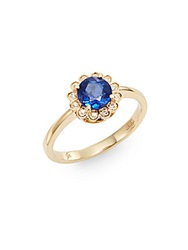 Effy Final Call Diamond Sapphire And 14K Yellow Gold Ring Blue