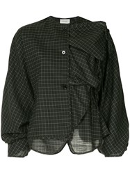 Christophe Lemaire Ruffled Check Blouse Black