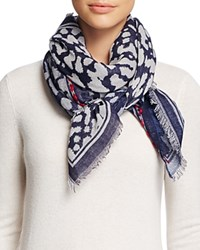 Fraas Animal Print Square Scarf Navy