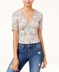 American Rag Juniors' Printed Button Front Ruched Sleeve Crop Top Created For Macy's Pink
