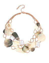 Kenneth Cole Under Construction Mother Of Pearl Mixed Shell Multi Row Necklace Gold