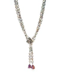 Michael Aram Black Rhodium Plated Sterling Silver Orchid And Cultured Freshwater Gray Pearl Lariat Necklace With Pink Sapphire Accents And Ametrine Nuggets 30