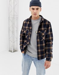 Native Youth Checked Shacket Navy