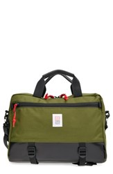 Topo Designs 'Commuter' Briefcase Green Olive Black Leather