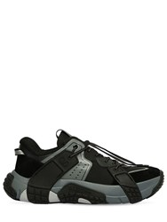 Valentino Vltn Wod Mesh And Suede Sneakers Black