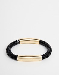 Designb London Woven And Metal Bracelet Black