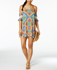 Jessica Simpson Surfside Off The Shoulder Cover Up Dress Women's Swimsuit Multi