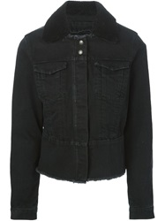 Paul By Paul Smith Sheepskin Collar Denim Jacket Black