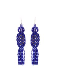 Etro Bead And Stone Embellished Tassel Earrings Blue