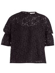 See By Chloe Ruffled Cuff Lace Knit Top Navy
