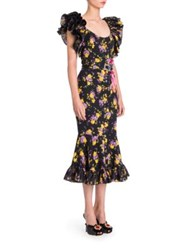 Dolce And Gabbana Floral Ruffle Dress Black Purple Floral