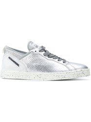 Hogan Rebel Metallic Lace Up Sneakers Calf Leather Leather Polyamide Rubber 38.5 Grey
