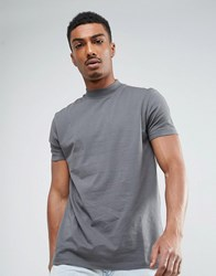 Asos Relaxed Skater T Shirt With High Neck In Gray Gray