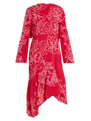 Peter Pilotto Floral Embroidered Silk Crepe Dress Pink Multi