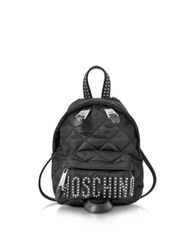 Moschino Black Quilted Nylon Mini Backpack W Studs