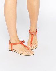 Oasis Bow Front Flat Sandals Coral Orange