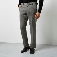 Vito River Island Mens Grey Textured Tux Trousers