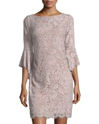 Chetta B Lace Sheath Dress With Flounce Sleeves Pink