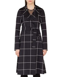Akris Punto Belted Grid Jacquard Trench Coat Black White