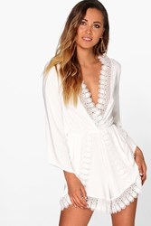 Boohoo Crochet Trim Oversized Playsuit Ivory
