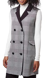 Women's Topshop Prince Of Wales Double Breasted Vest