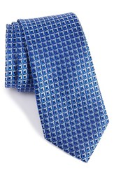 Nordstrom Men's Men's Shop White Pip Geometric Silk Tie Royal Blue