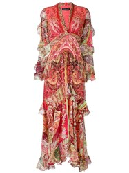 Etro Long Mixed Print Dress Red
