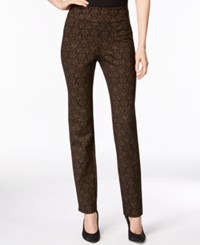 Charter Club Petite Side Zip Prined Pants Only At Macy's Deep Black